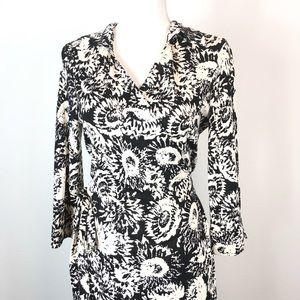 Diane Von Furstenberg Silk Wrap Black Cream Dress